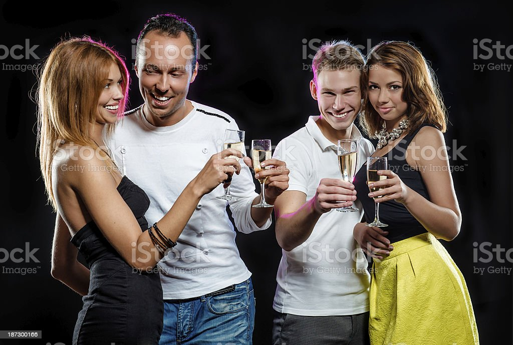 People with glasses of sparkling champagne royalty-free stock photo