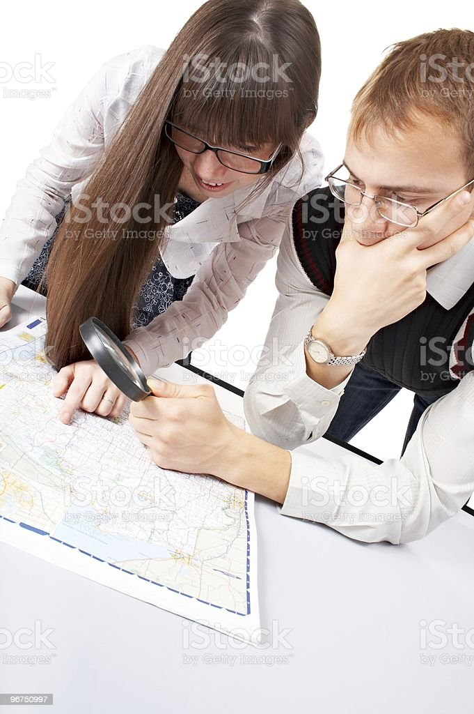 people with map royalty-free stock photo