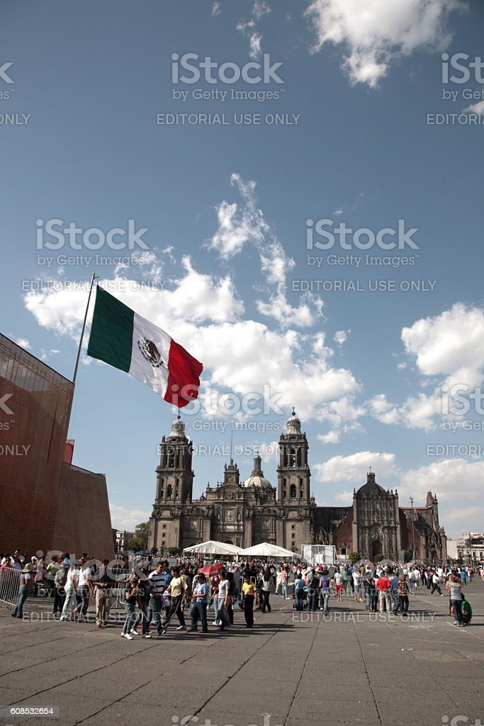 People with Metropolitan cathedral in Mexico city, Mexico. stock photo