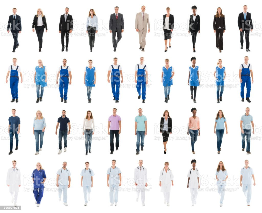 People With Various Occupation Walking Against White Background stock photo