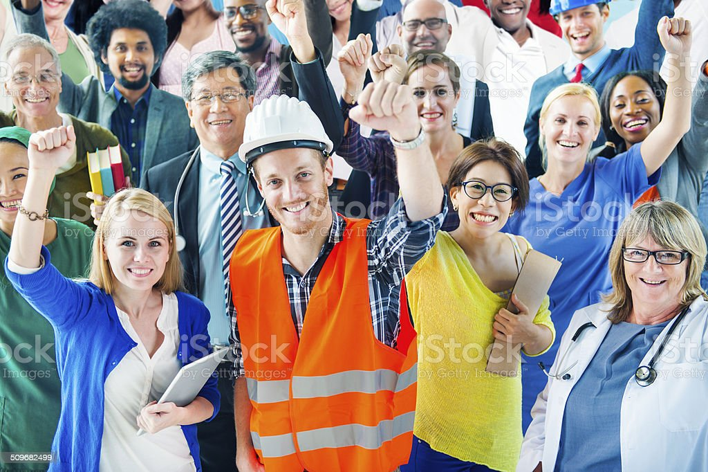 People with Various Occupations Arms Raised stock photo