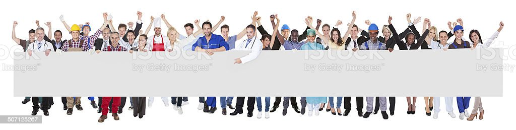 People With Various Occupations Holding Blank Billboard stock photo