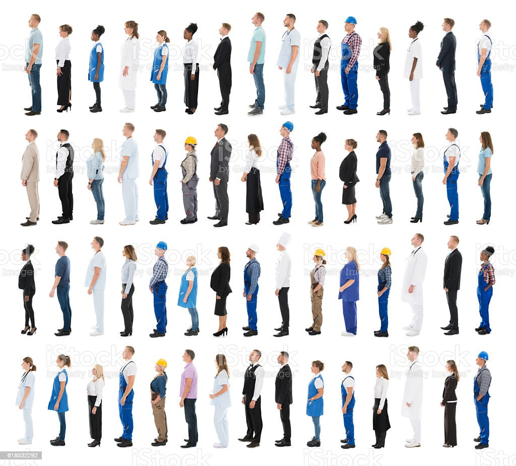 People With Various Profession Standing In Line stock photo