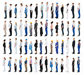 People With Various Profession Standing In Line