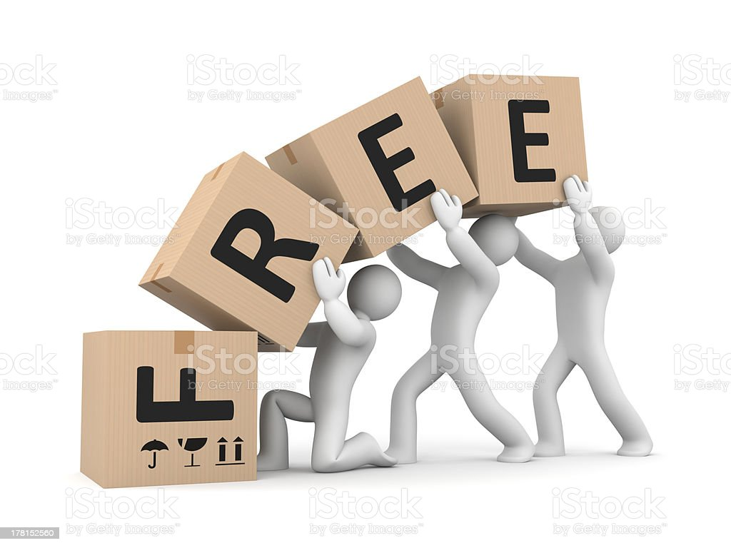 People work with boxes. Free delivery royalty-free stock photo