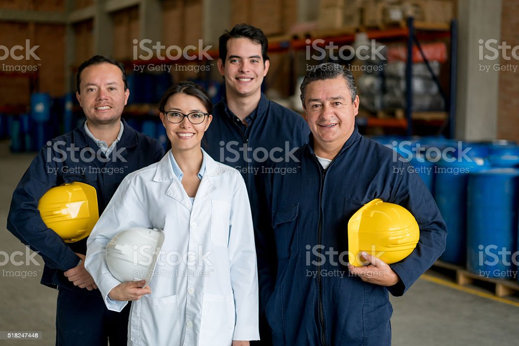 People working at a chemical plant stock photo