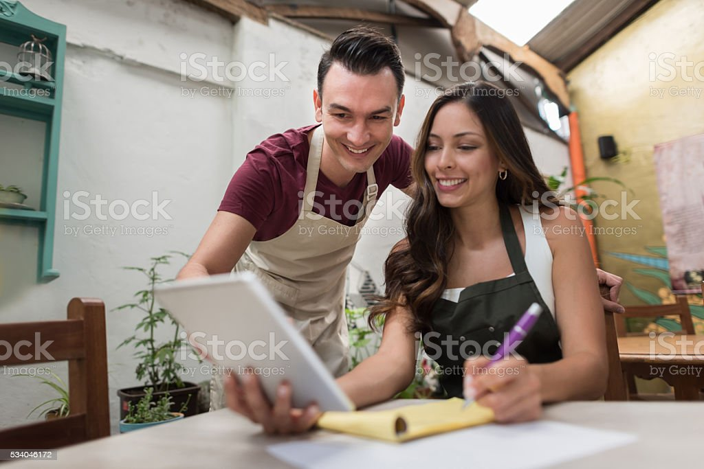 People working at a restaurant stock photo
