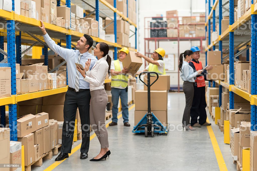 People working at a warehouse stock photo