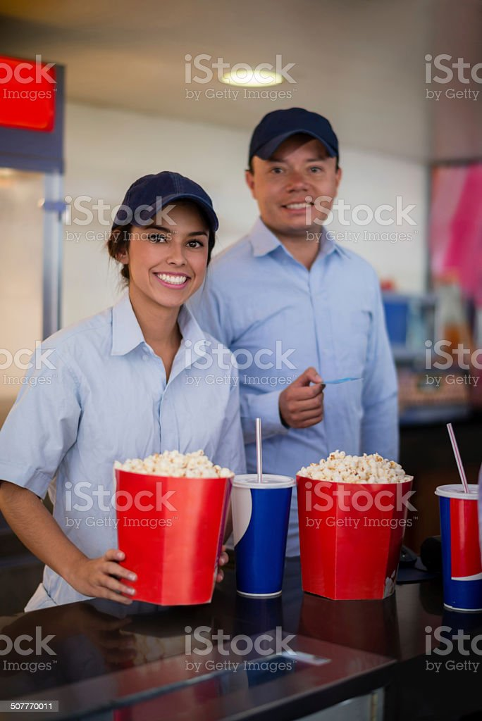 People working at the cinema stock photo