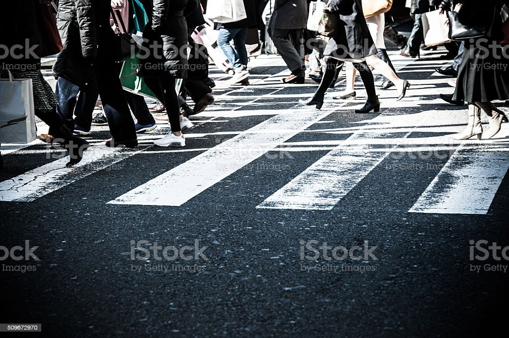 People,crosswalk stock photo