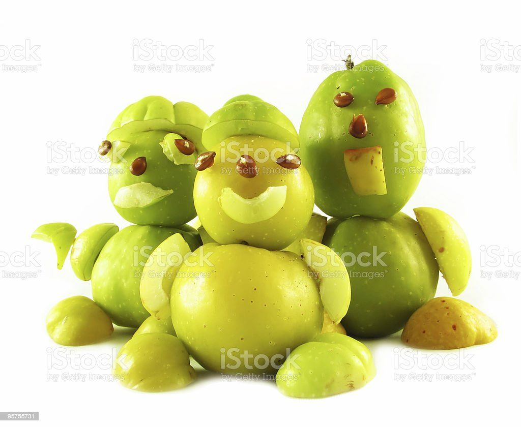 peoples from fruits of quinces stock photo