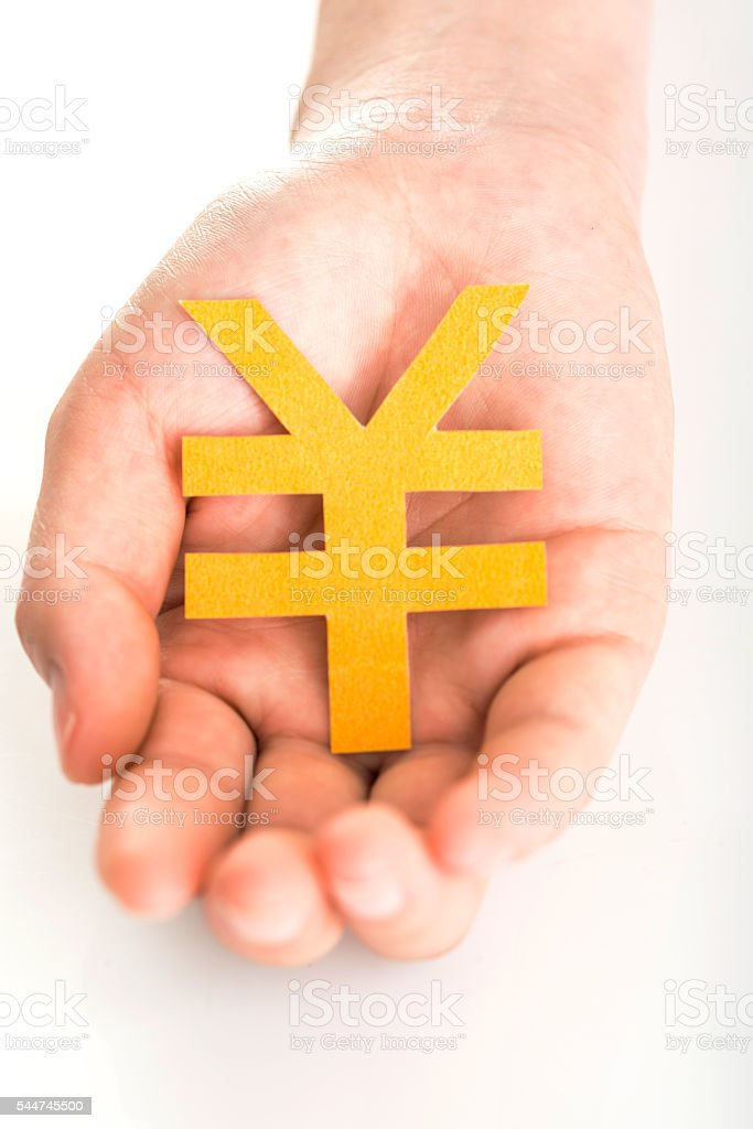 People's hand and currency symbol stock photo