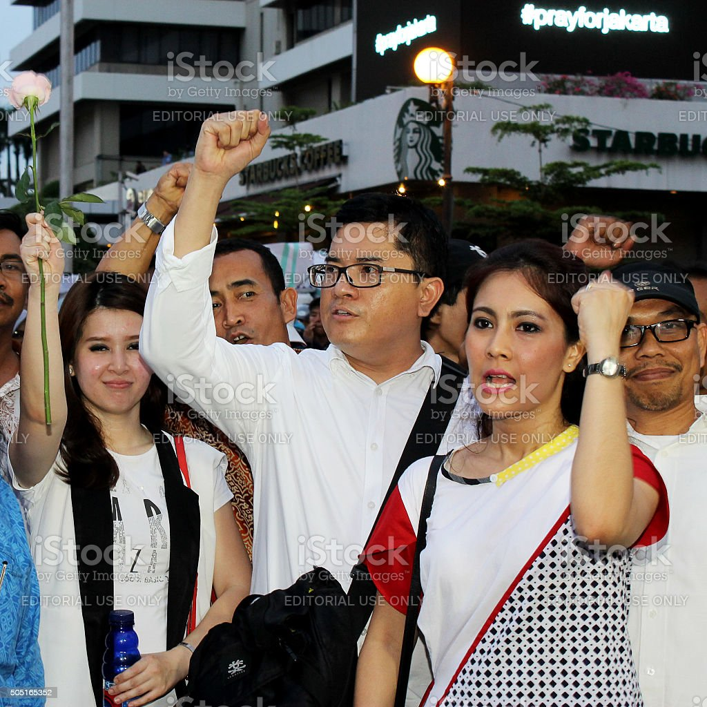 Peoples Held a Peace Rally in Sarinah stock photo