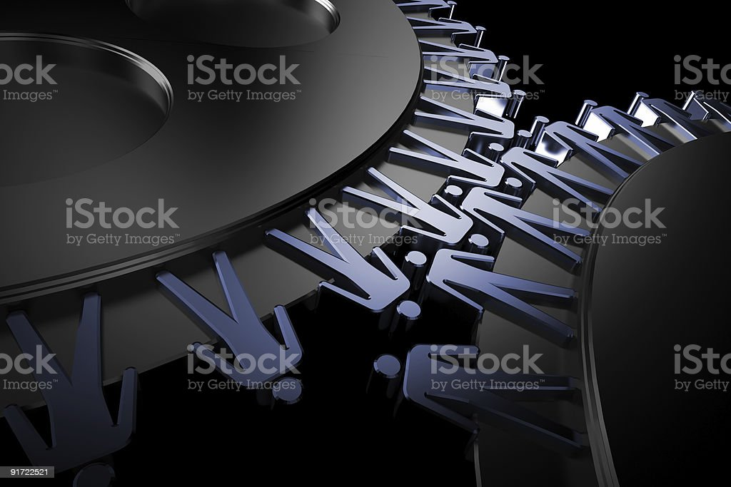 Peoples in corporation mechanism. Teamwork, connection concept. 3d gears. royalty-free stock photo