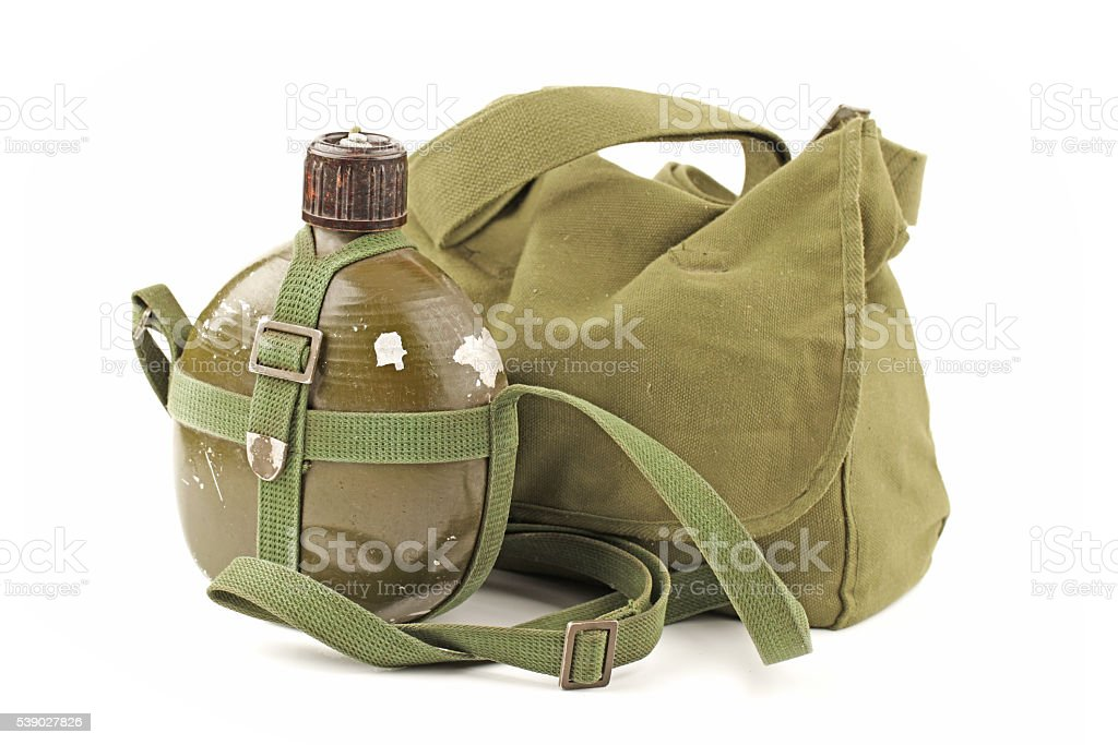 People's Liberation Army military kettle. Military backpack stock photo