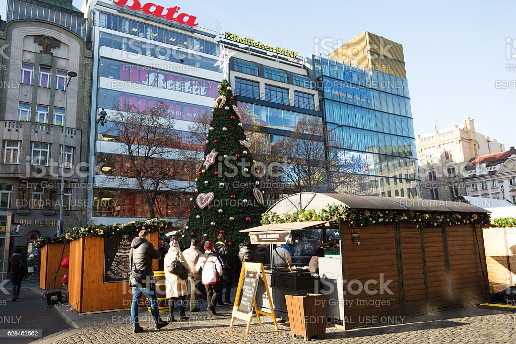 Peoples on the famous advent Christmas market at Wenceslas square stock photo