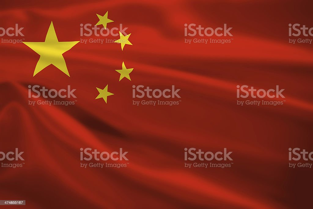 Peoples Republic of China flag blowing in the wind stock photo