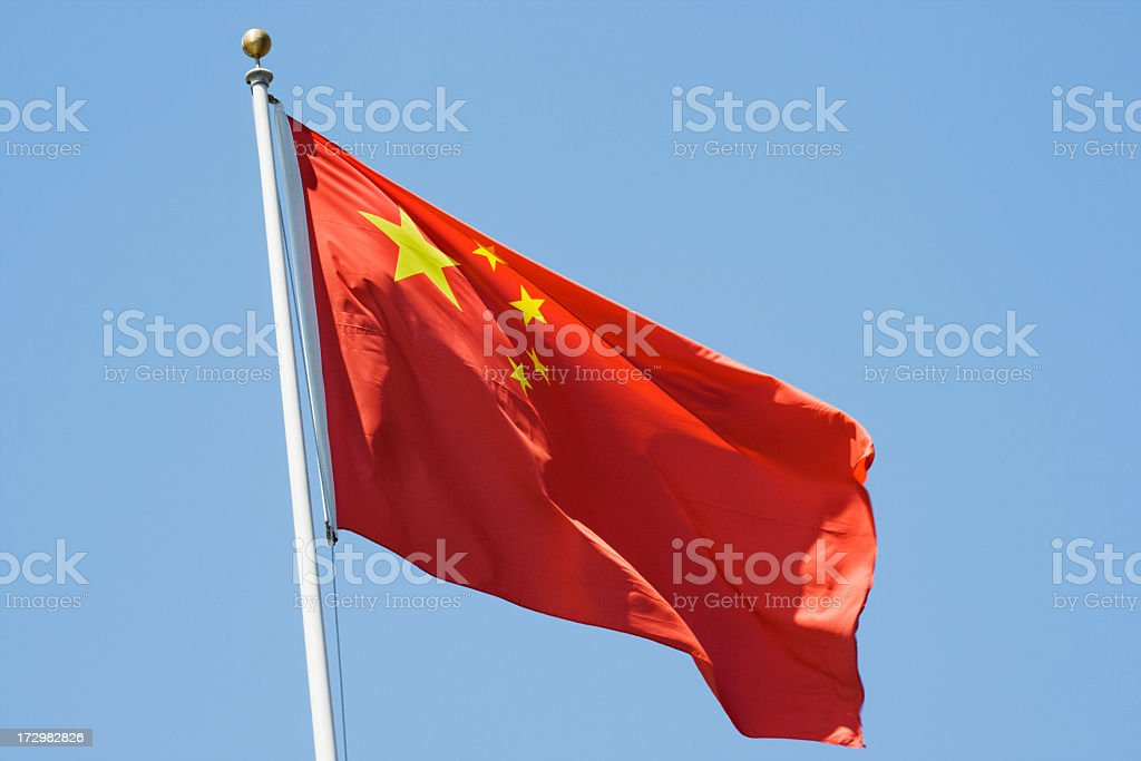 People's Republic of China Flag, National Red Banner with Stars royalty-free stock photo