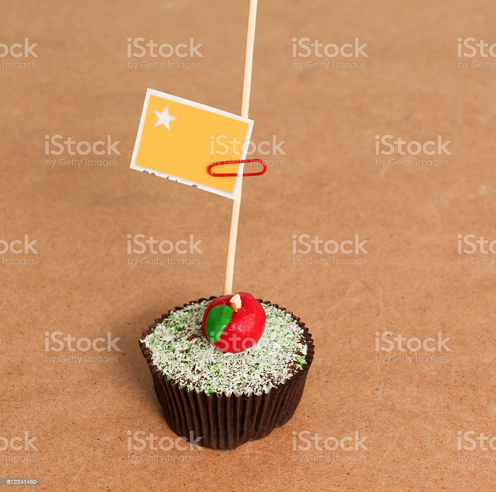 People's Republic of the Congo flag on a apple cupcake stock photo