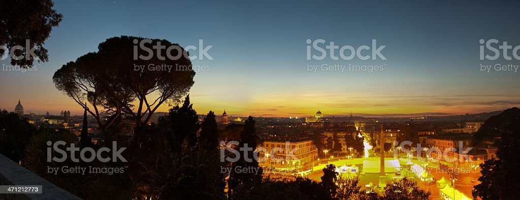 Piazza del Popolo at night royalty-free stock photo