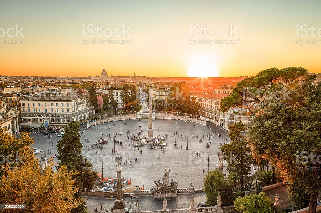 Piazza del Popolo at sunset stock photo