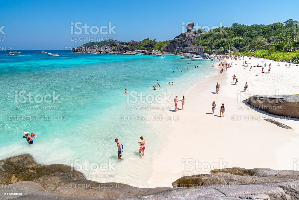 Peoples tourists at Beach of Koh S stock photo