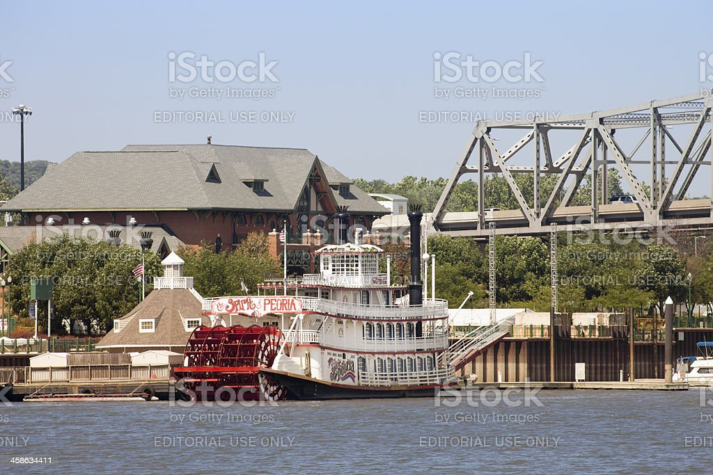 Peoria Illinois Paddle Boat on the River stock photo