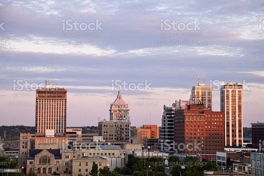 Peoria skyline at sunset stock photo