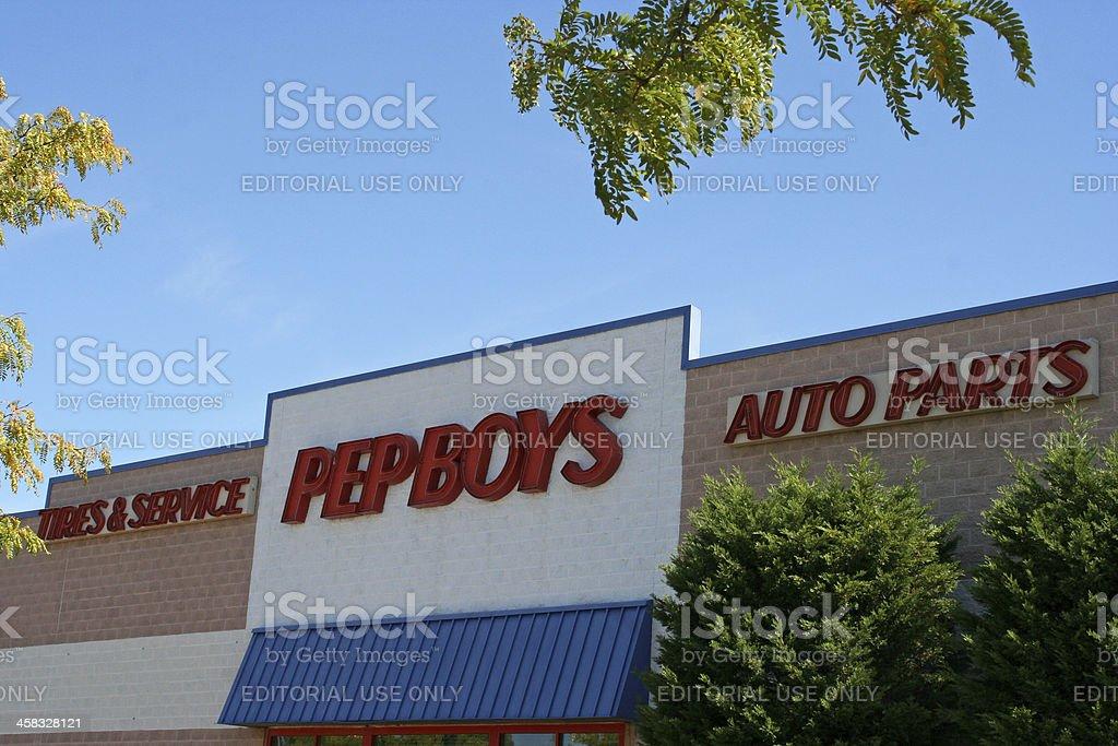 Pep Boys Auto Parts store facade stock photo