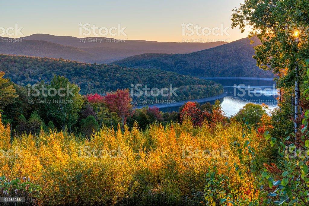 Pepacton Reservoir Autumn Twilight stock photo