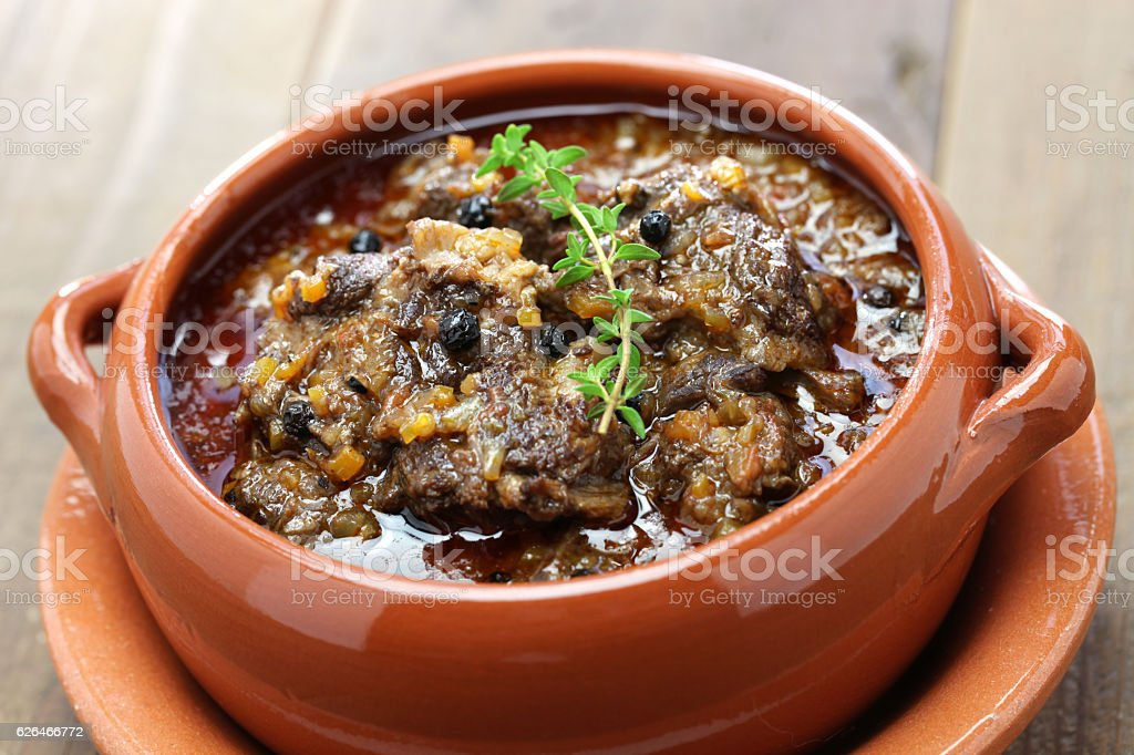 peposo, tuscan peppered beef stew stock photo