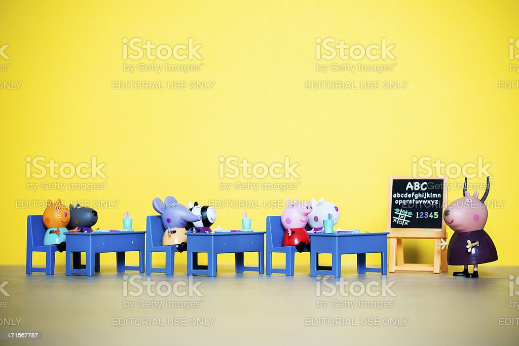 Peppa Pig animated television series characters: at school. stock photo