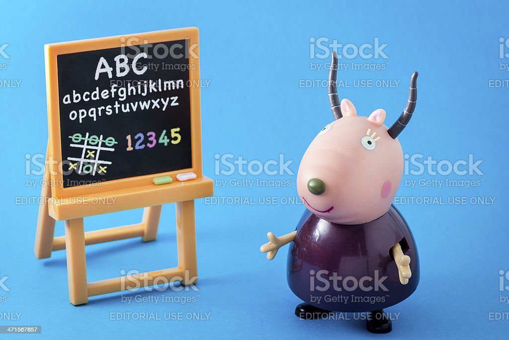 Peppa Pig animated television series characters: Madame Gazelle stock photo