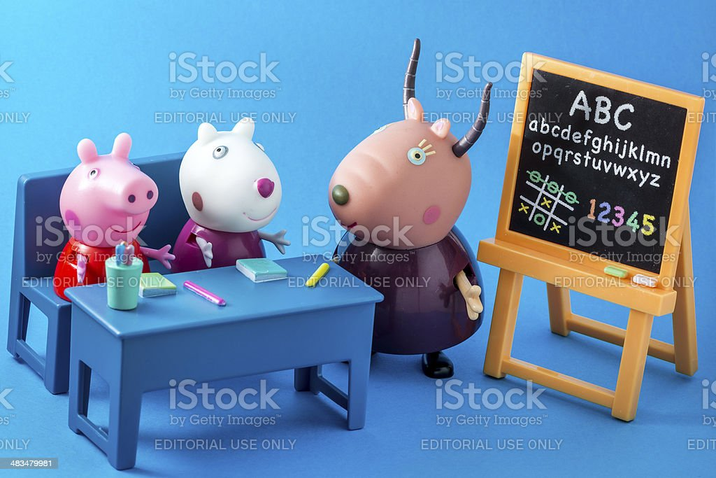 Peppa Pig animated television series characters: Peppap, Suzy, Madame Gazelle stock photo