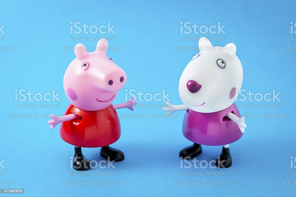 Peppa Pig animated television series characters: PeppaPig and Suzy Sheep royalty-free stock photo