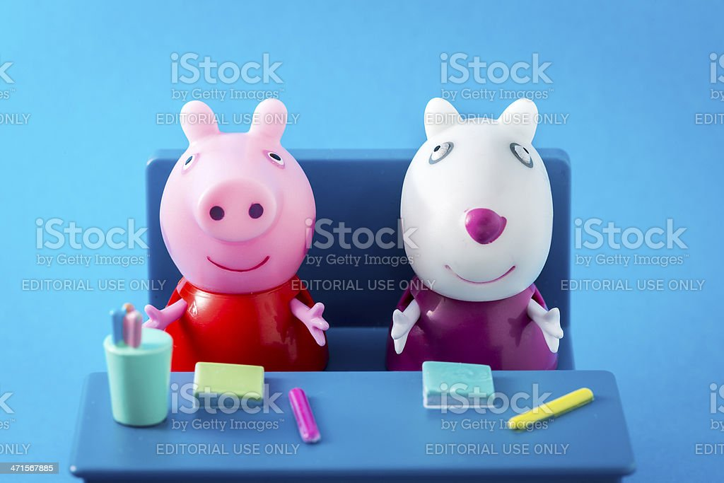Peppa Pig animated television series characters: PeppaPig and Suzy Sheep stock photo