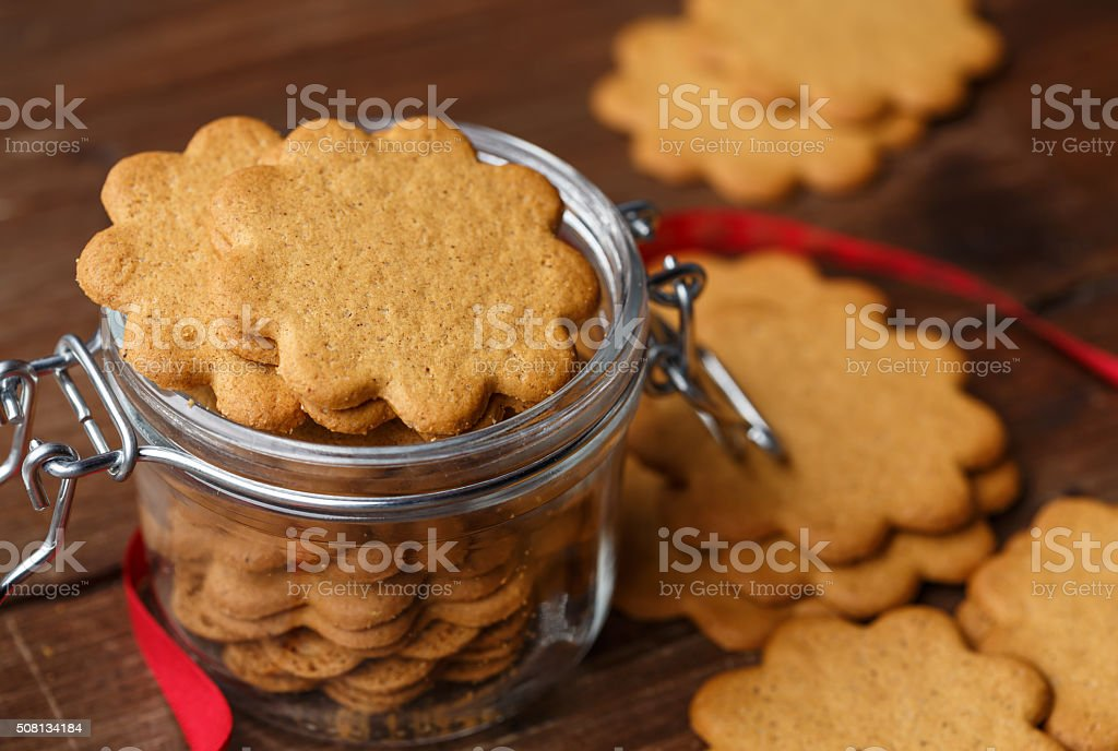Pepparkakor in a glass jar stock photo