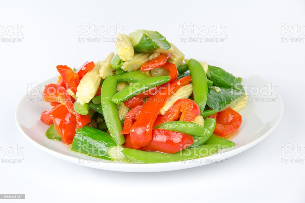 pepper and sugar snap pea stock photo