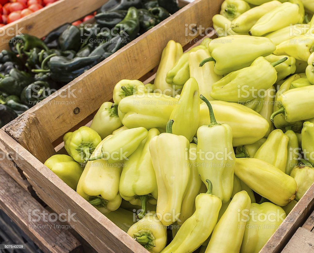 Pepper Bins at Farmer's Market stock photo