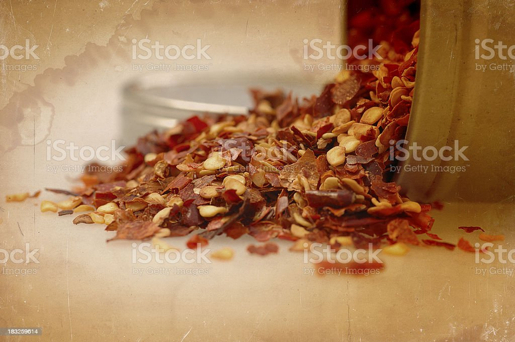 pepper flakes close up stock photo