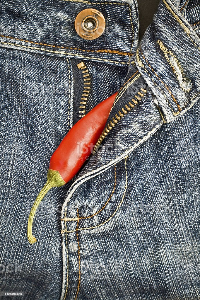 Pepper in jeans royalty-free stock photo