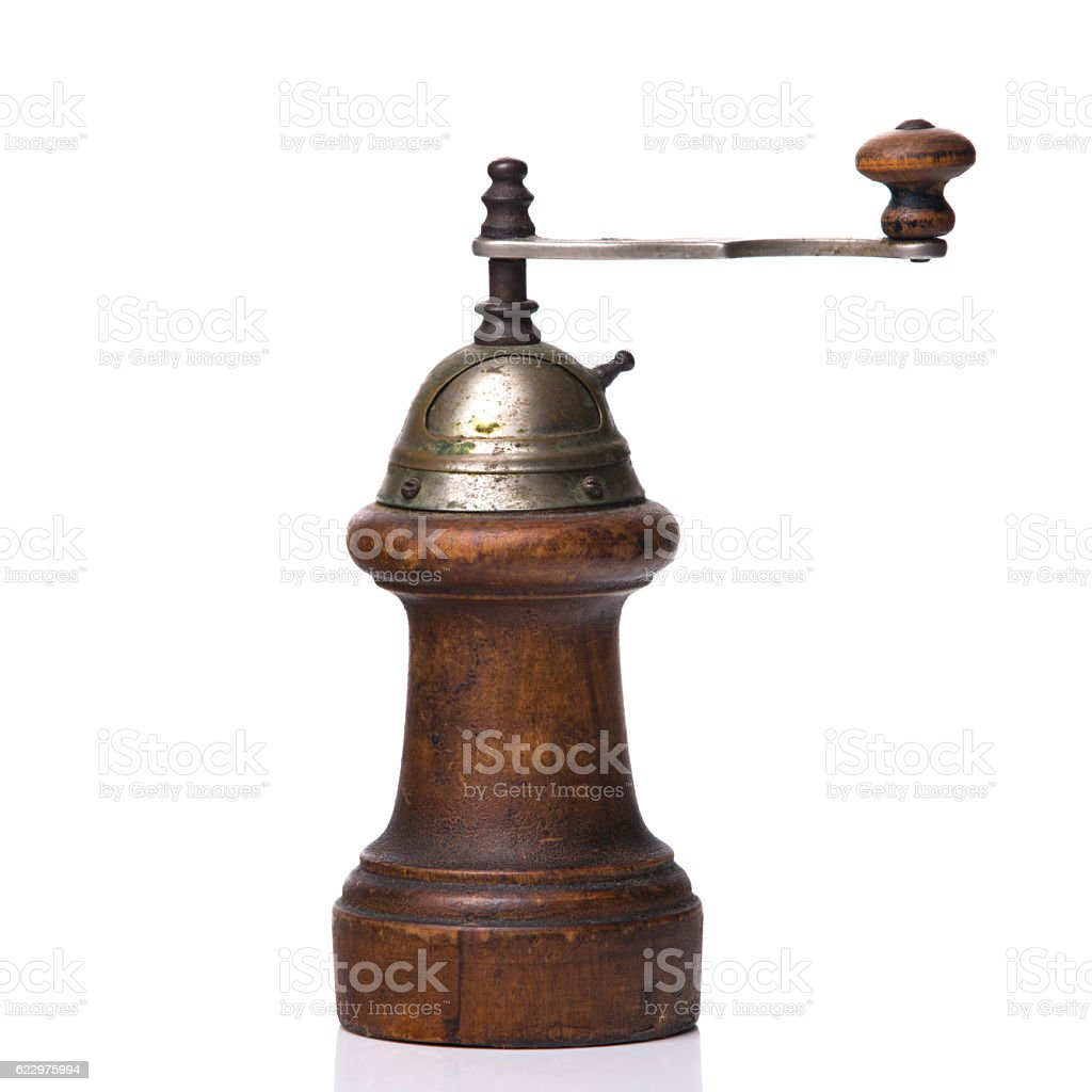 Pepper mill isolated on white background stock photo