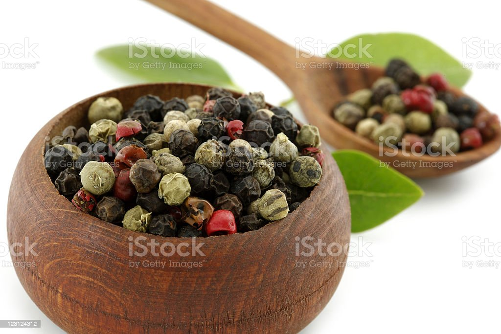 Pepper multicolor in wooden dish royalty-free stock photo