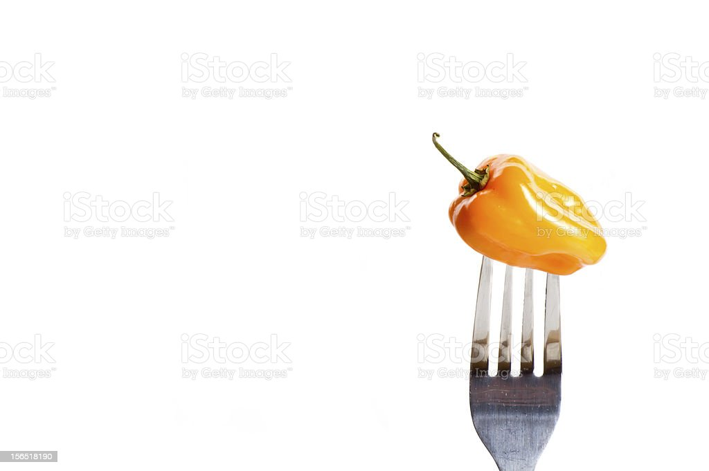 Pepper on Fork royalty-free stock photo