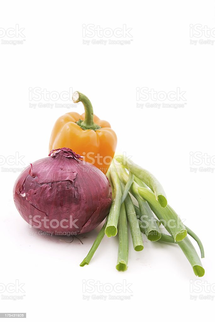 Pepper, onion and greens royalty-free stock photo
