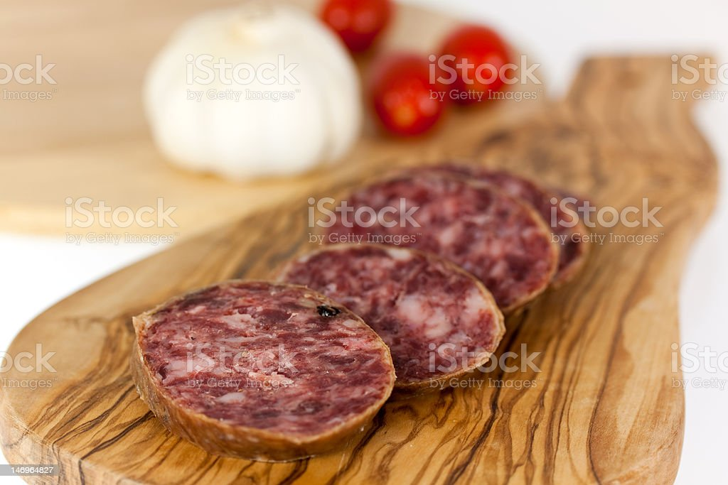 Pepper Salami with garlic royalty-free stock photo