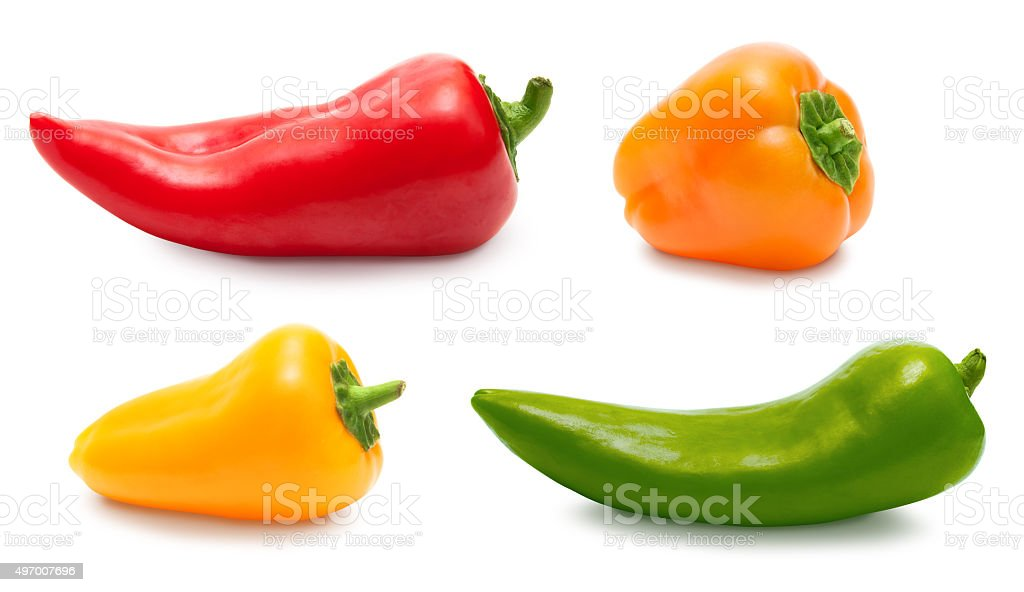 Pepper set isolated over white, clipping path stock photo