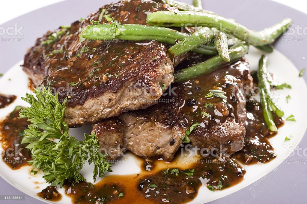 Steak au Poivre stock photo