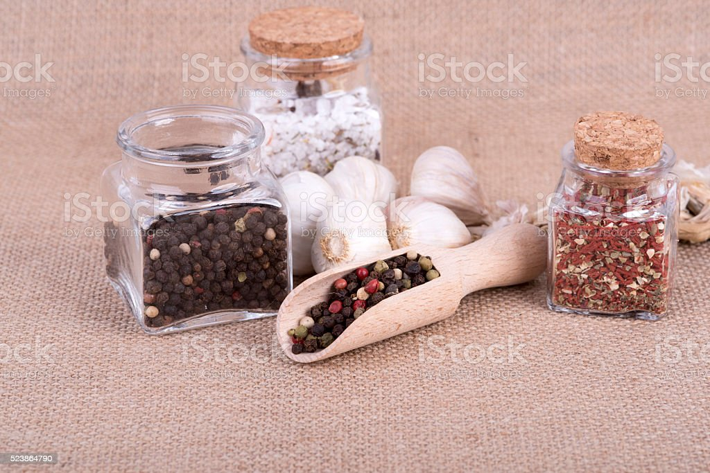 pepper stored in the container stock photo