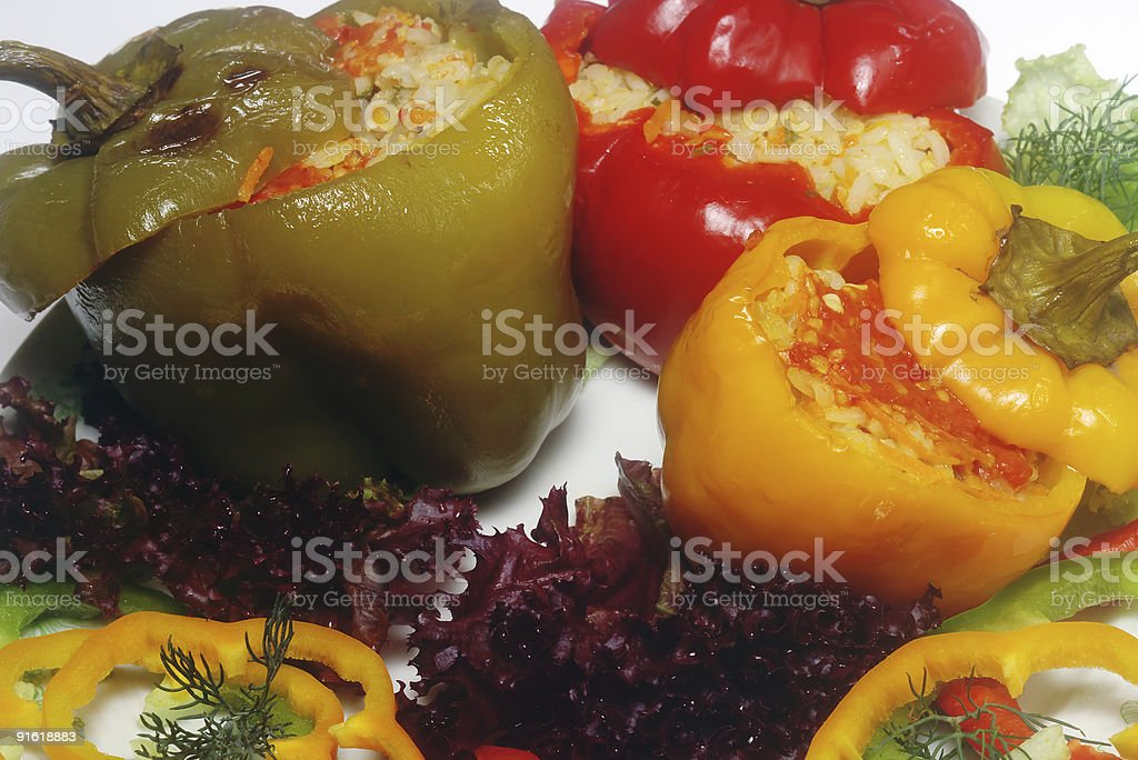 Pepper stuffed on the plate royalty-free stock photo
